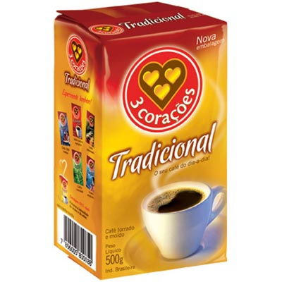 CAFE PO VACUO 500G 3 CORACOES TRADIC