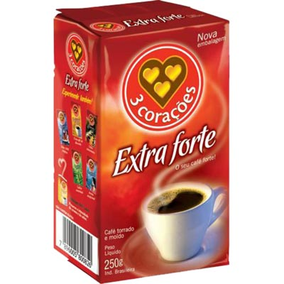 CAFE PO VACUO 250G 3 CORACOES EXT FORTE
