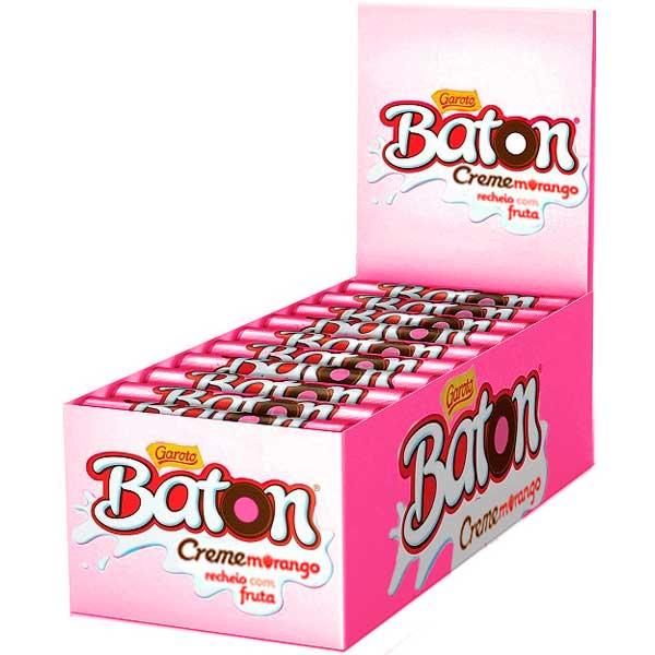 CHOCOL GAROTO BATON 16G CREME/MORANGO